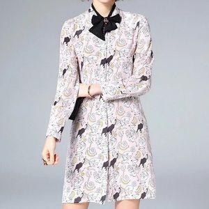 Dresses & Skirts - Runway inspired  cat print silk Dress